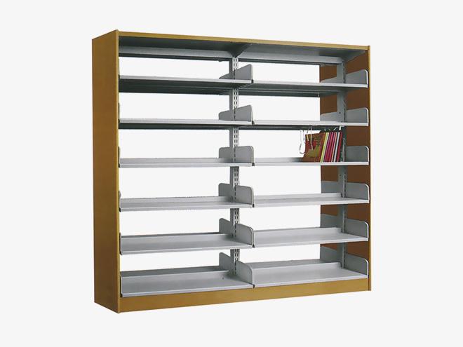 木护板单柱双面书架