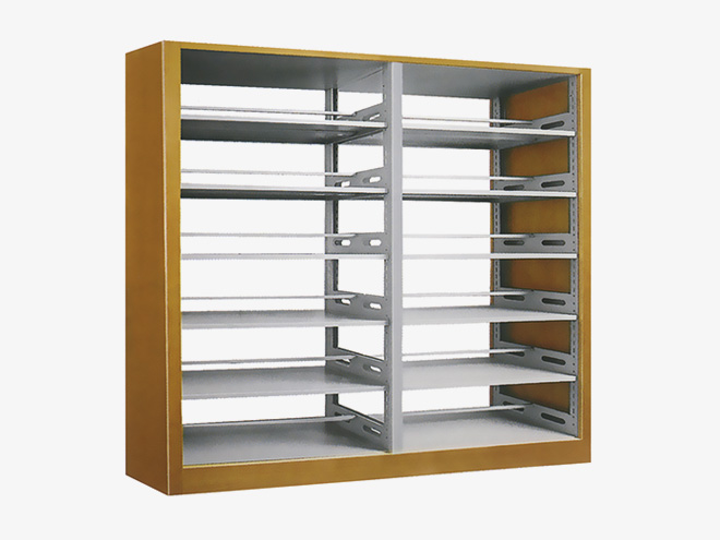 木护板复柱双面书架